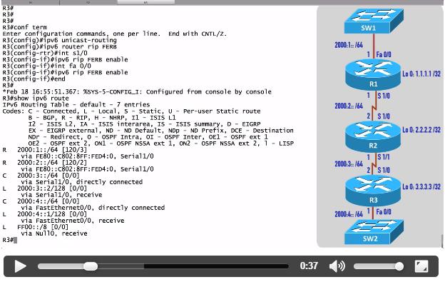 Validación de la configuración del protocolo RIPng (RIP next generation) para IPV6 CISCO