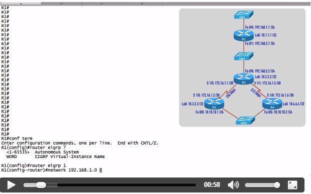 Configuracion básica del protocolo Enhanced Interior Gateway Routing Protocol (EIGRP) CISCO